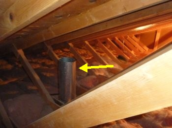 Vents into attic home inspections by john for Bathroom venting into attic